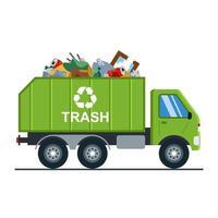 Müllwagen mit Müll fährt auf die Mülldeponie. Abfallrecycling. Vektor Muldenkipper lokalisiert auf weißem Hintergrund.