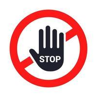 Stopp skylt. handen stannar. platt vektorillustration. vektor