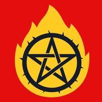 Sternpiktogramm mit Flammenspitzen. Ruf den Teufel. flache Vektorillustration vektor