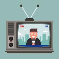 Der alte Fernseher zeigt einen Live-Bericht mit einem Korrespondenten. flache Vektorillustration vektor