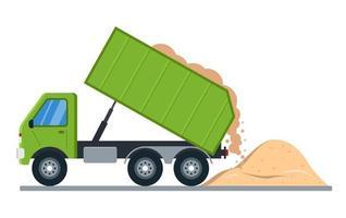 sandleverans med lastbil. jordutslag till marken. platt vektorillustration. vektor