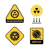 Satz von Sonnenstrahlungssymbolen. flache Vektorillustration. vektor