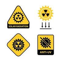 uppsättning av solstrålningsikoner. platt vektorillustration.