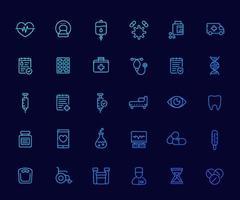 medicinsk och hälsovård ikoner set, försäkring, piller, vaccin, ct-skanning, ekg, iv dropp, blodprov, linjär vector.eps