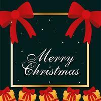 Frohe Weihnachten Rahmen mit Geschenken und Bögen Vektor-Design vektor