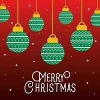 Frohe Weihnachten Ornamente hängen Vektor-Design vektor