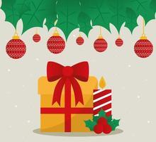 Frohe Weihnachten Geschenk und Kerze mit Ornamenten hängen Vektor-Design vektor
