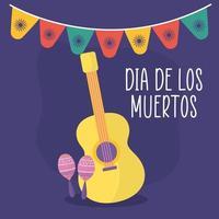 mexikansk dag av den döda gitarr med maracas vektordesign vektor