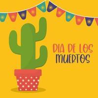 mexikanischer Tag des toten Kaktus mit Wimpelvektorentwurf vektor
