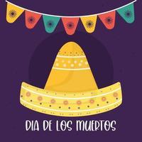 mexikansk dag för den döda sombrerohatten med vimpelvektordesign vektor