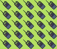 mönster bärbar walkie-talkie på en grön bakgrund. platt vektorillustration.