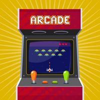 Retro-Arcade-Spielautomat mit Pixel-Spiel. flache Vektorillustration. vektor