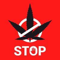 Emblem stoppen Marihuana auf einem roten Hintergrund. durchgestrichene Pflanze. flache Vektorillustration. vektor