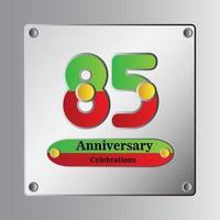 85 Jahre Jubiläum Vektor Vorlage Design Illustration