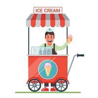 Wagen auf Rädern mit Eis. fröhlicher Verkäufer verkauft Eis. flache Zeichenvektorillustration vektor