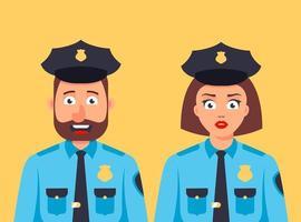 männliche und weibliche Polizisten stehen zusammen. netter Wachmann. flache Zeichenvektorillustration vektor