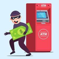 tjuven stal pengar från en bankomat. lycklig kriminell. platt karaktär vektorillustration.