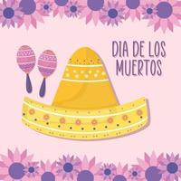 mexikansk dag av de döda maracas och sombrero hatt med blommor vektor design