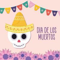 mexikansk dag av den döda skalle med sombrero hatt och blommor vektordesign vektor