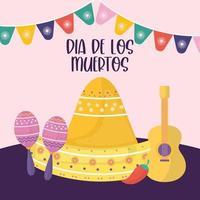 mexikansk dag för döda maracas, sombrero hatt och gitarrvektordesign vektor