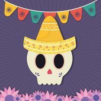 mexikanischer Tag des toten Schädels mit Sombrero-Hut und Blumenvektorentwurf vektor