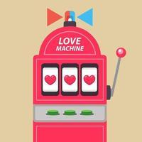 Arcade-Spielautomat mit Jackpot. Liebesmaschine. flache Vektorillustration. vektor