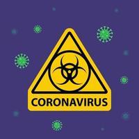 Warnung in einem dreieckigen Zeichen über Coronavirus. Quarantänezone. flache Vektorillustration. vektor