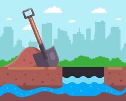 grabe ein Loch für einen Brunnen. finde einen unterirdischen Fluss. flache Vektorillustration. vektor
