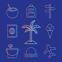 Sommer Farbverlauf Stil Icon Set vektor