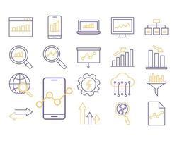 dataanalys linje stil ikonuppsättning