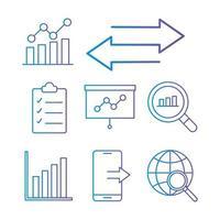 Datenanalyse-Gradientenstilsymbolsatz vektor