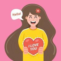 flickan ger ett kort för alla hjärtans dag. platt karaktär vektorillustration vektor