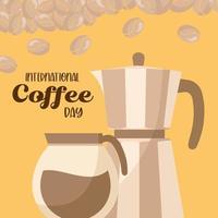 internationell kaffedag med kruka och vattenkokare vektordesign vektor