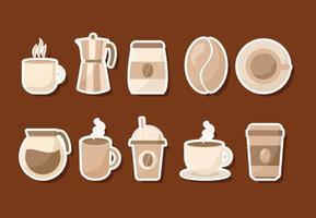 kaffe ikonuppsättning vektor