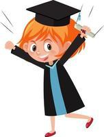 Zeichentrickfigur eines Mädchens, das Abschlusskostüm trägt