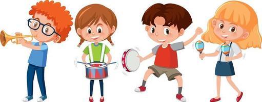uppsättning olika barn som spelar musikinstrument