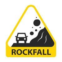 gelbes Schild Vorsicht Steinschlag. Stein fällt auf ein Auto. flache Vektorillustration lokalisiert auf weißem Hintergrund. vektor