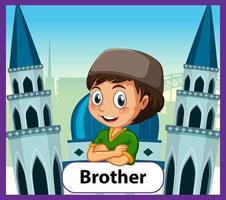 pädagogische englische Wortkarte des Bruders vektor