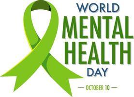 världens mentala hälsodagsbanner eller logotyp isolerad på vit bakgrund