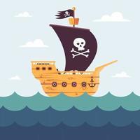 Piratenschiff im offenen Ozean. Schädel auf einer schwarzen Flagge. flache Vektorillustration. vektor