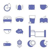 sömnlöshet linje och fyll stil ikonuppsättning