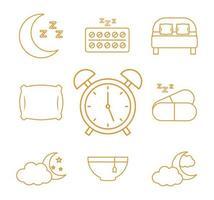 sömnlöshet linje stil ikonuppsättning