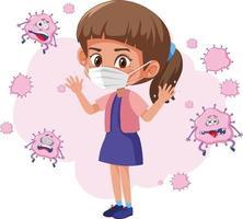 ein Mädchen, das Maske mit Virus trägt, fliegt isoliert herum vektor
