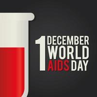 1. Dezember Welt Aids Day Schriftzug mit einem Reagenzglas vektor