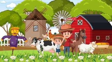 Bauernhofszene mit vielen Kinderzeichentrickfiguren und Nutztieren vektor