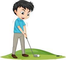 tecknad karaktär av en pojke som spelar golf på vit bakgrund