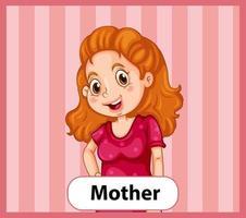 pädagogische englische Wortkarte der Mutter vektor
