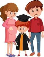 glücklicher kleiner Junge im Abschlusskostüm mit ihren Eltern