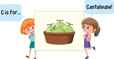 tecknad karaktär av två barn stavning frukt ordförråd
