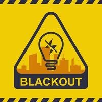Verdunkelungssymbol auf einem Stadthintergrund. Stromausfall. flache Vektorillustration. vektor